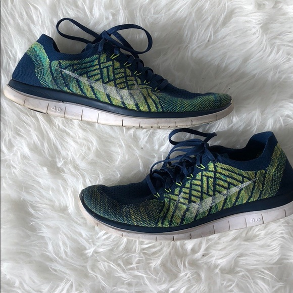 low priced e93d1 44ed3 Men s Nike Free FlyKnit 4.0. Blue and green. 11. M 5a6f50239a94557403cfd9d0